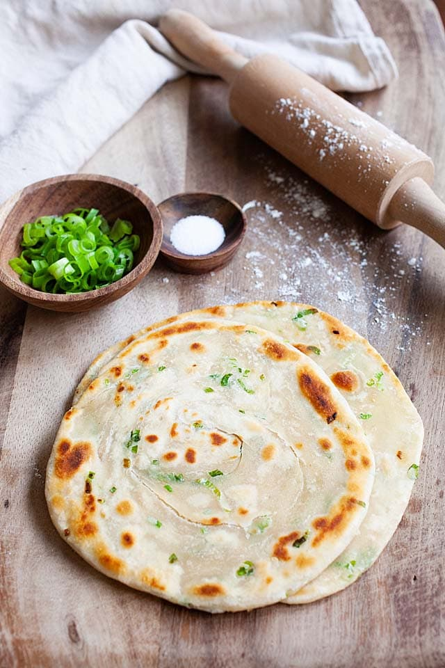 Scallion pancakes, ready to serve.