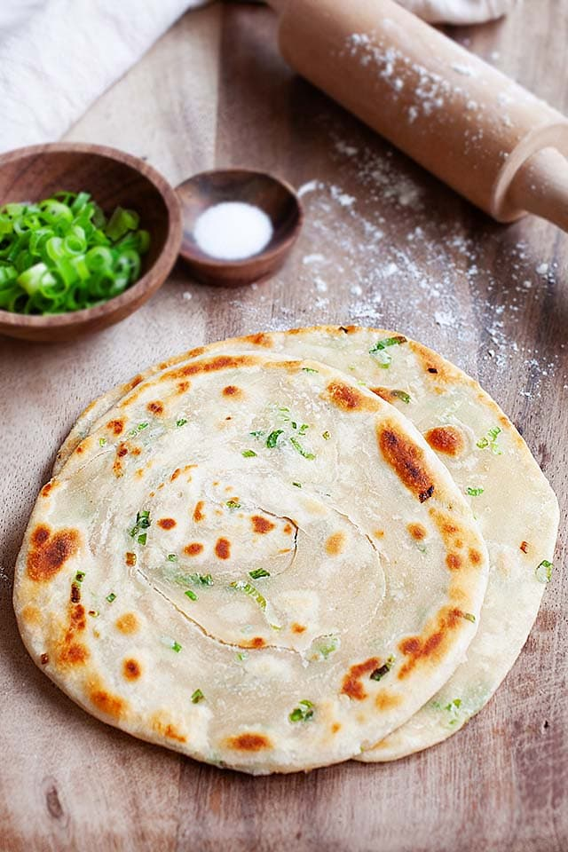 Scallion pancakes recipe made of flour, scallion (green onion), salt and water.