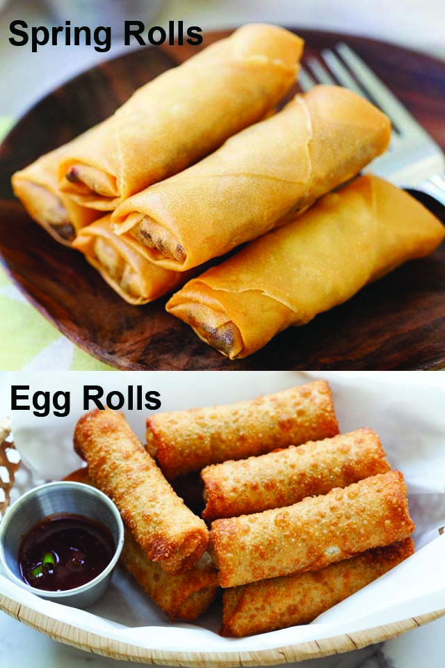 Spring roll vs egg roll, side-by-side comparison.