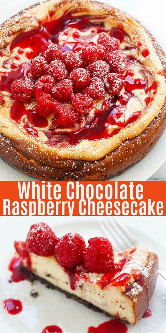 White Chocolate Raspberry Cheesecake - the best raspberry cheesecake recipe ever, with rich, sweet and creamy cheesecake loaded with fresh raspberries and raspberry sauce. This incredible dessert is to die for!