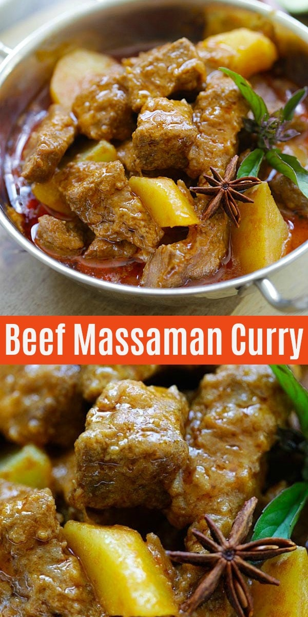 Massaman curry is a popular Thai curry that is rich and creamy in flavor. This Beef Massaman Curry recipe is authentic and delicious | rasamalaysia.com