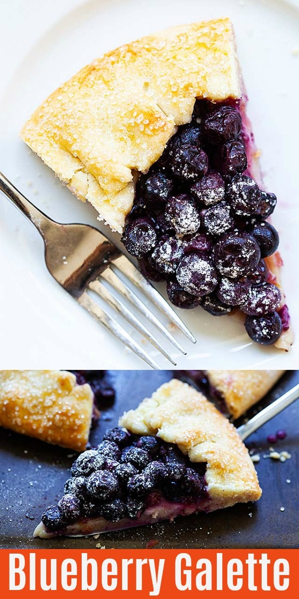 Blueberry galette  is a fruit dessert with juicy, fresh blueberries and lemon zest baked into a buttery, flaky crust. This French dessert recipe is easy to make for a beautiful, impressive, and delicious treat!