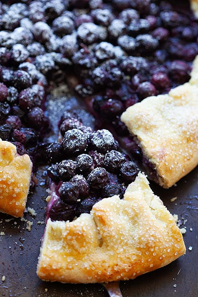 A slice of blueberry galette, ready to be eaten.