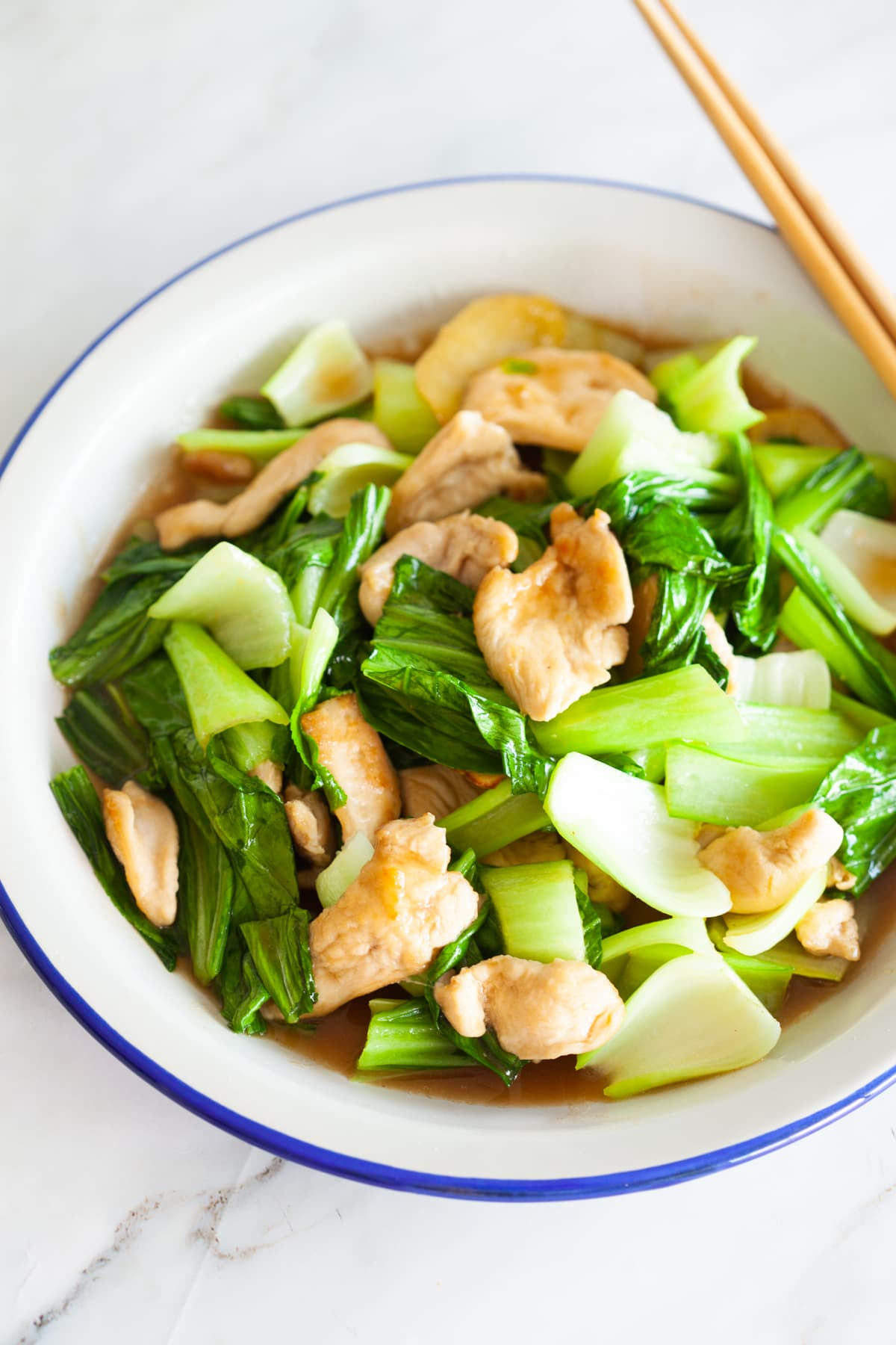 Bok choy chicken with oyster sauce.