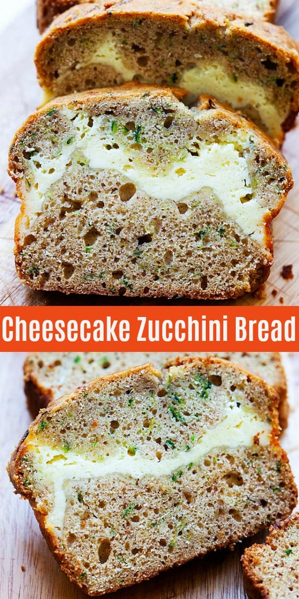 This zucchini bread recipe creates a tender quick bread with both savory and sweet flavors. A ribbon of rich cheesecake baked through the loaf makes this bread a special treat.