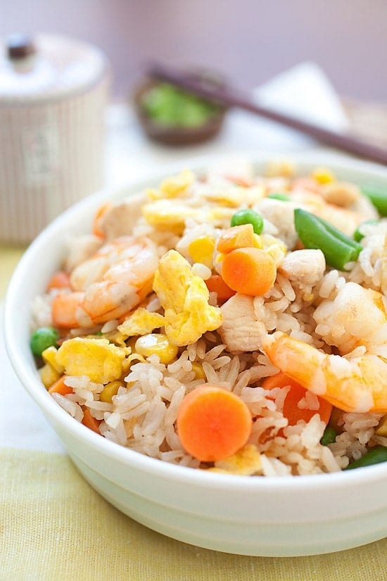 Easy fried rice made with rice, eggs, chicken, and shrimp in a bowl, ready to serve.