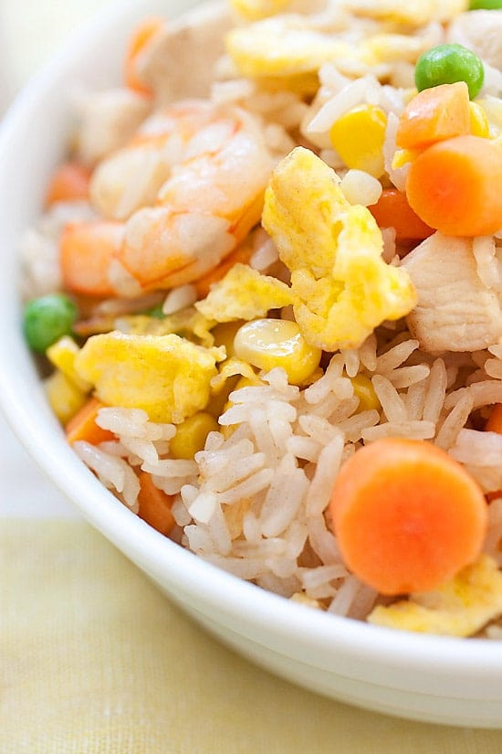 Healthy homemade Chinese fried rice in a bowl.