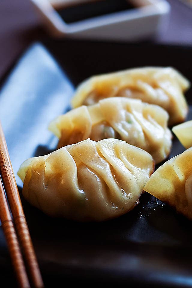 Gyoza recipe made of ground pork, vegetable and gyoza wrapper.