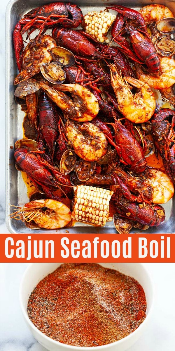 Seafood boil just like Louisiana New Orleans, with shrimp, crawfish, Manila clams and a homemade Cajun seasoning and butter sauce. So easy and delicious!