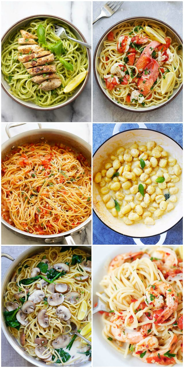 Pasta recipes photo collage.