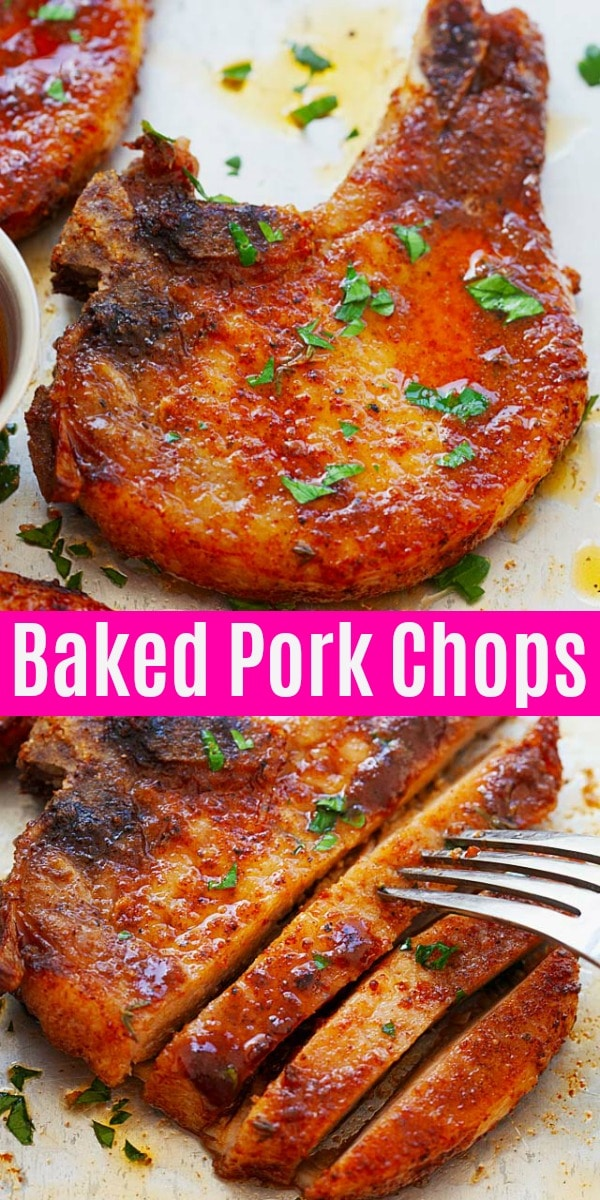 Juicy and easy baked pork chop with only four ingredients:bone-in chops, dry rub, butter and thyme. This is the best and tender pork chops you'll ever make, so good!