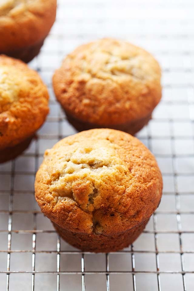 Banana nut muffins in a basket.