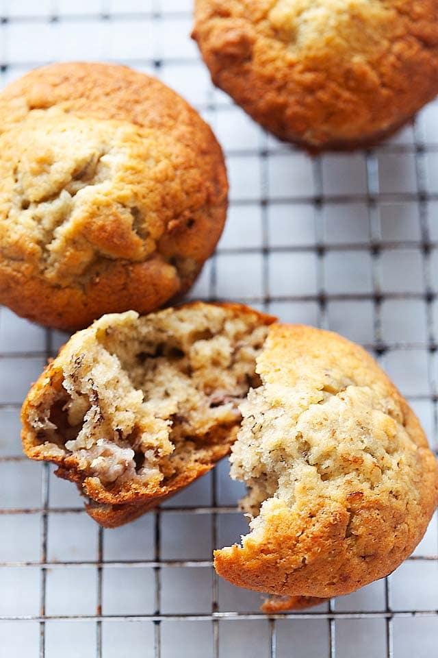 Healthy banana nut muffins.