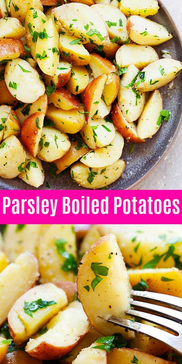 Boiled potatoes with parsley is one of the best potato recipes ever. Calls for 5 ingredients and 5 mins prep time, this is a healthy side dish for dinner.