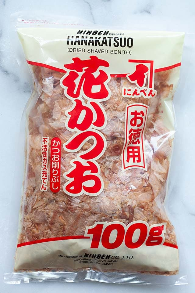 A packet of dry bonito flakes used for dashi recipe.
