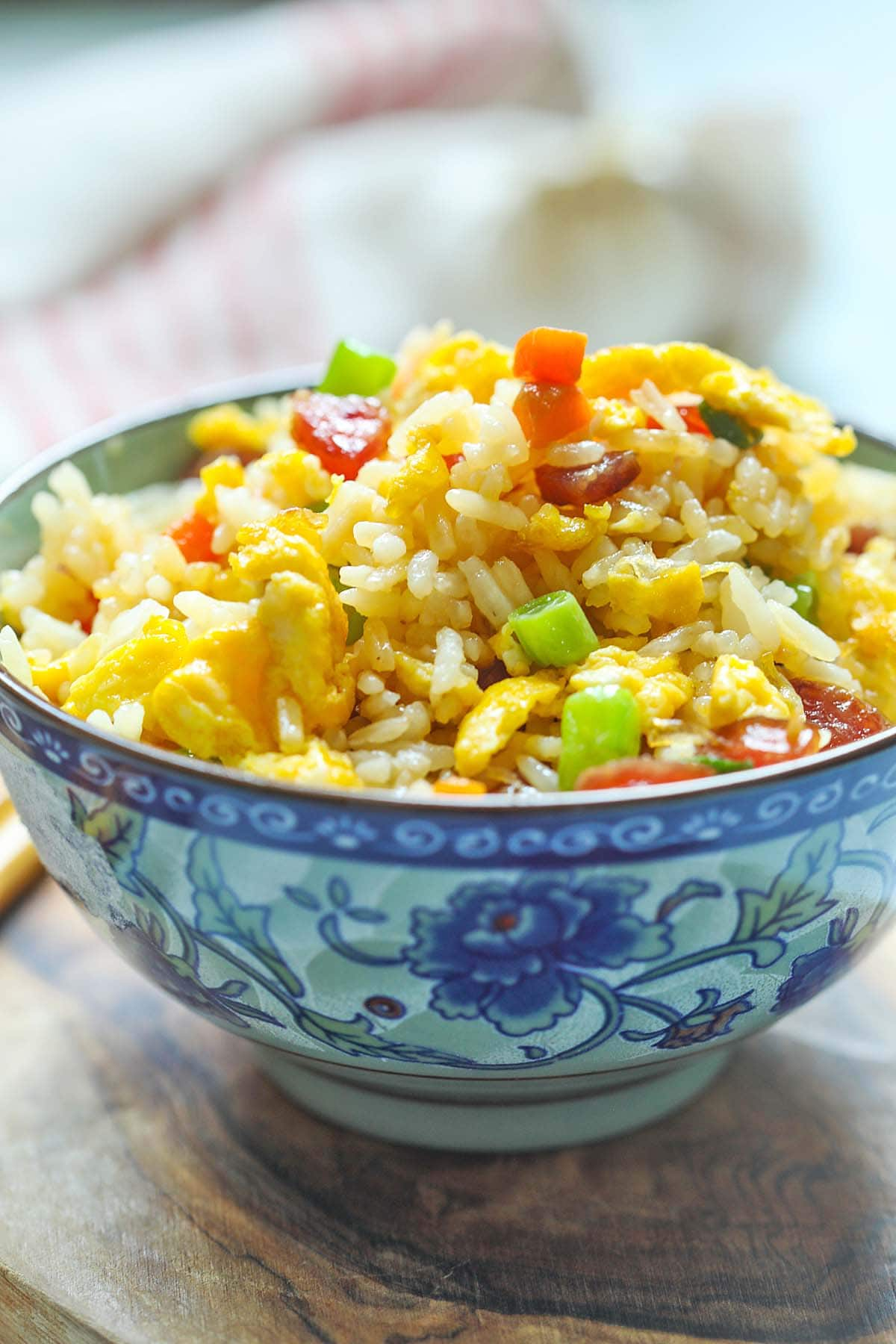 Chinese fried rice recipe with Chinese sausage or lapcheong.