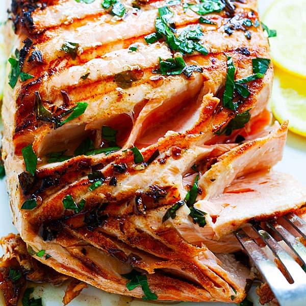 Garlic Herb Grilled Salmon Grilled In 8 Minutes Rasa Malaysia
