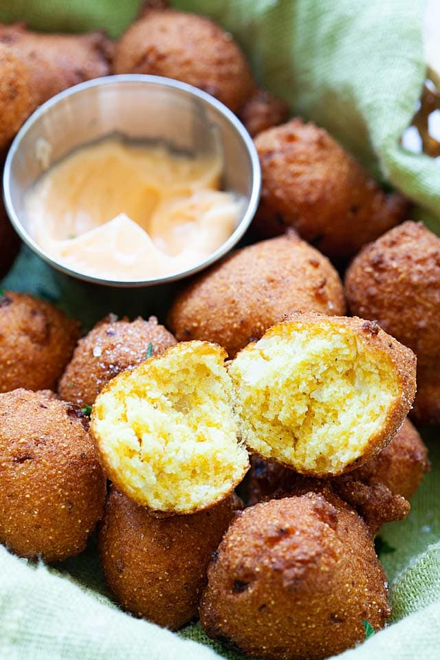 The inside of deep fried hush puppies.