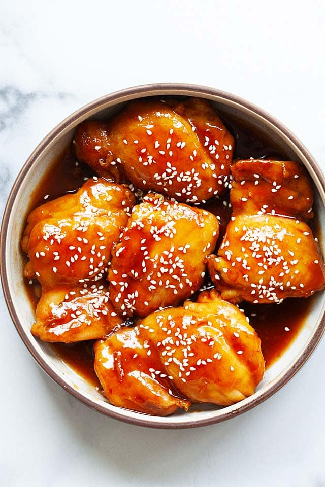 Instant pot chicken thighs with boneless chicken thighs and teriyaki sauce.