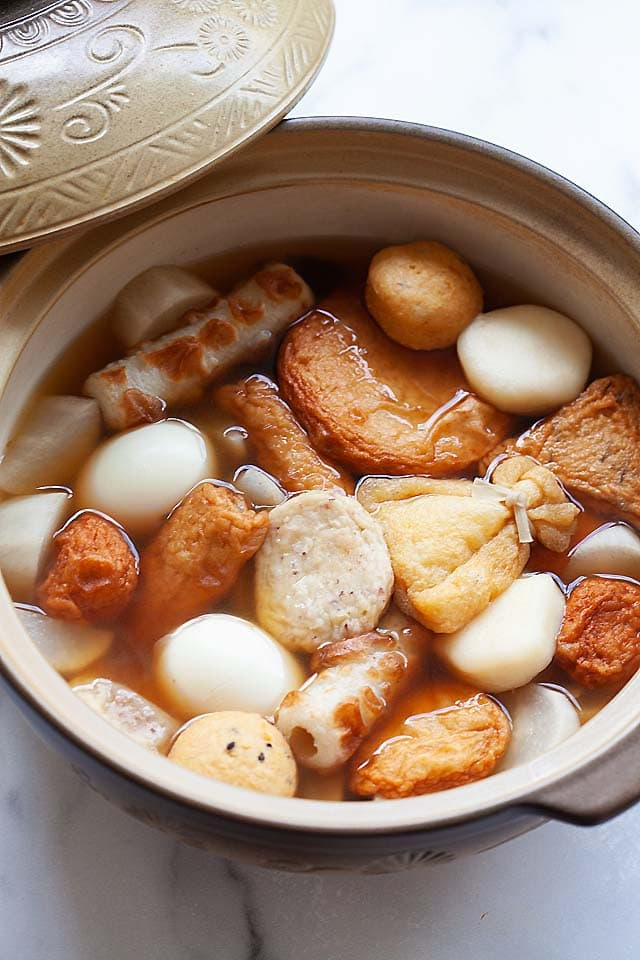 Oden is a Japanese stew made of hard-boiled eggs, daikon, fish cakes and dashi soup mix.