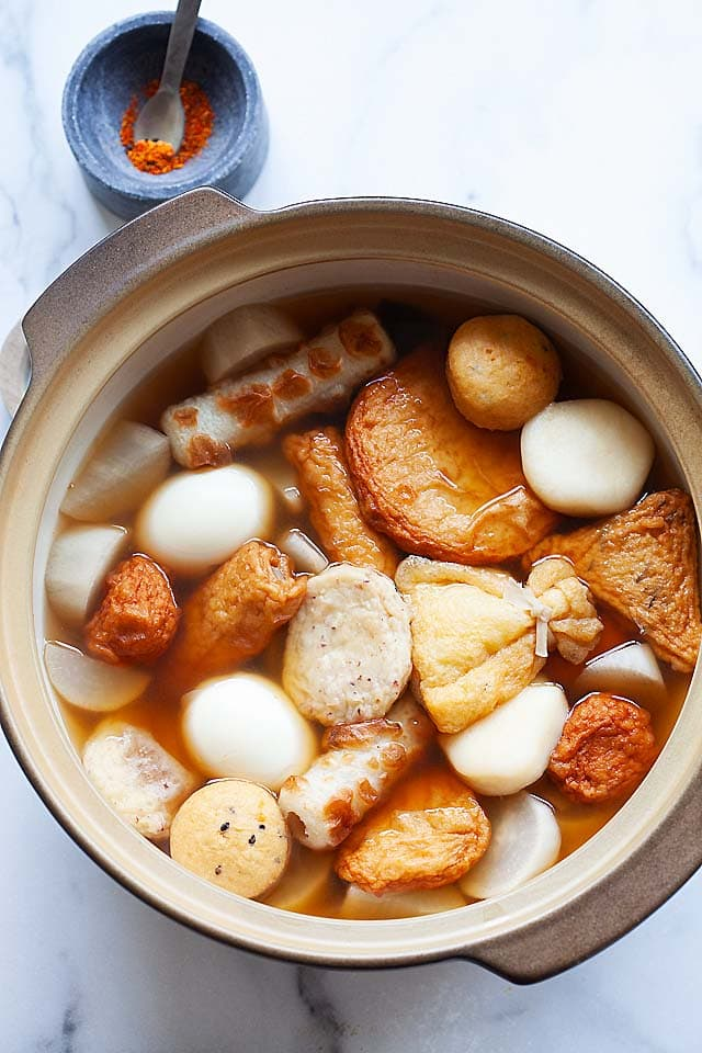 Homemade Japanese oden in a Japanese stew pot, ready to serve.
