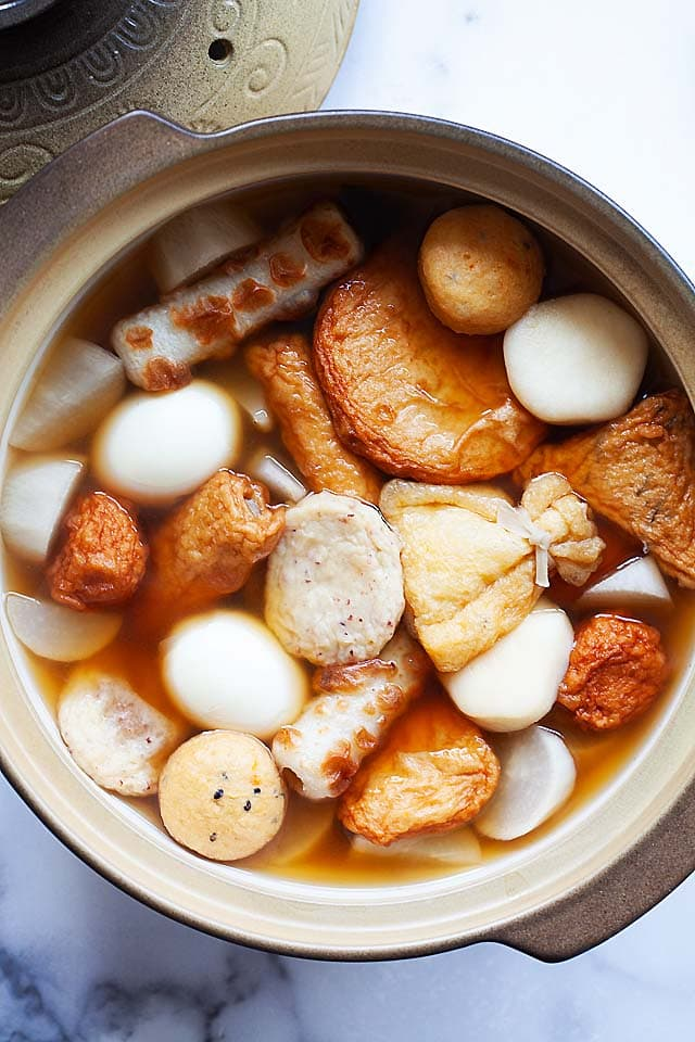 Oden recipe with hard boiled eggs, oden soup mix and fish cakes.
