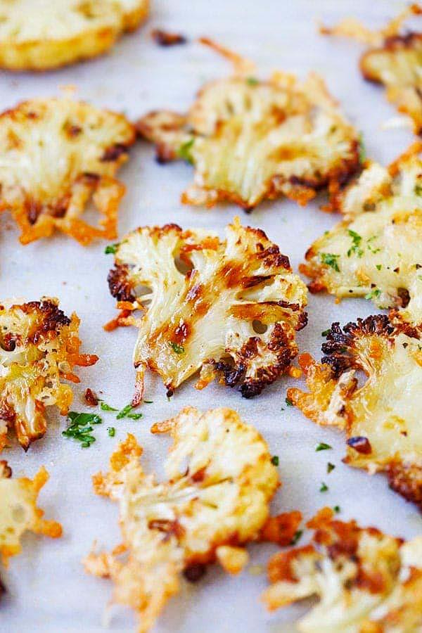 Oven roasted cauliflower Parmesan.