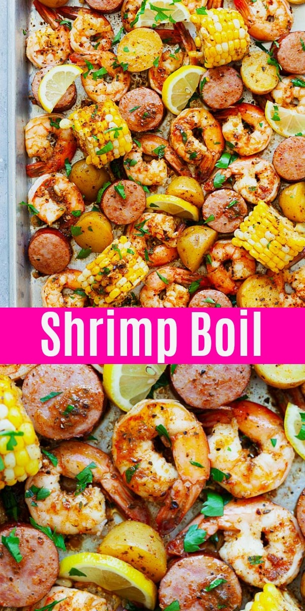 Easy low country shrimp boil with Old Bay, Cajun seasoning and butter. This shrimp boil recipe is the best with shrimp, baby potatoes, corn and smoked sausage. So delicious!