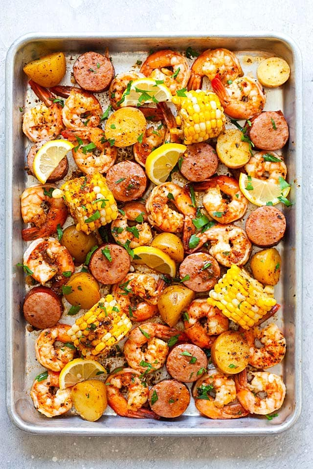 Shrimp boil on a sheet pan, ready to serve.