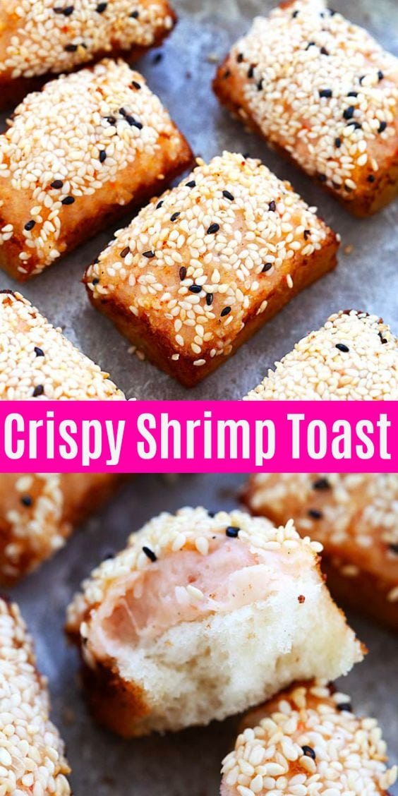 Crispy and non-greasy shrimp toast filled with shrimp mousse and deep-fried to golden perfection. A perfect appetizer for any occasion. So yummy!