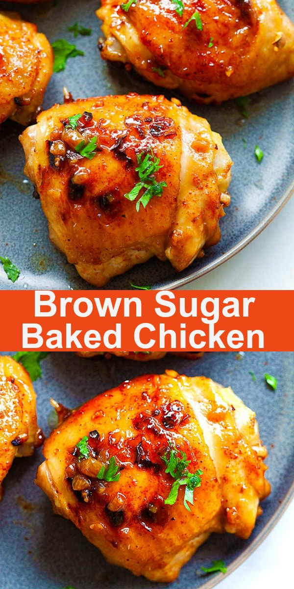 Baked chicken thighs with crispy skin, brown sugar, garlic and cayenne pepper. This is one of the best chicken thigh recipes that takes 10 mins prep time | rasamalaysia.com