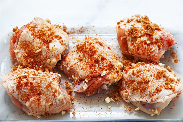 Chicken thigh baked with brown sugar and garlic.