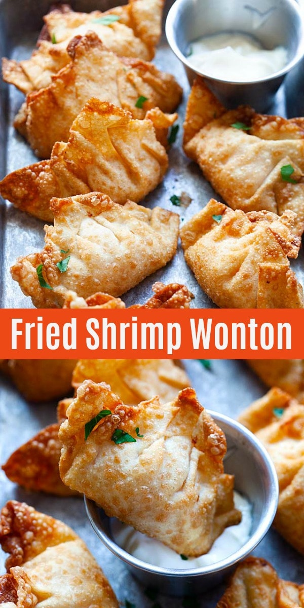 Fried shrimp wontons - crispy wontons filled with shrimp are popular dim sum found at Chinese restaurants. Make them at home with this easy recipe!