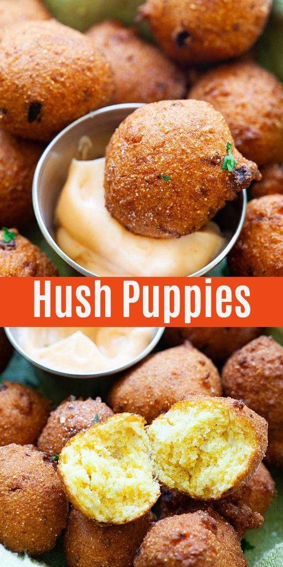 Hush Puppies - fried croquettes made with cornmeal and onion. Homemade hush puppy recipe that goes well with fried cat fish and southern seafood dishes.