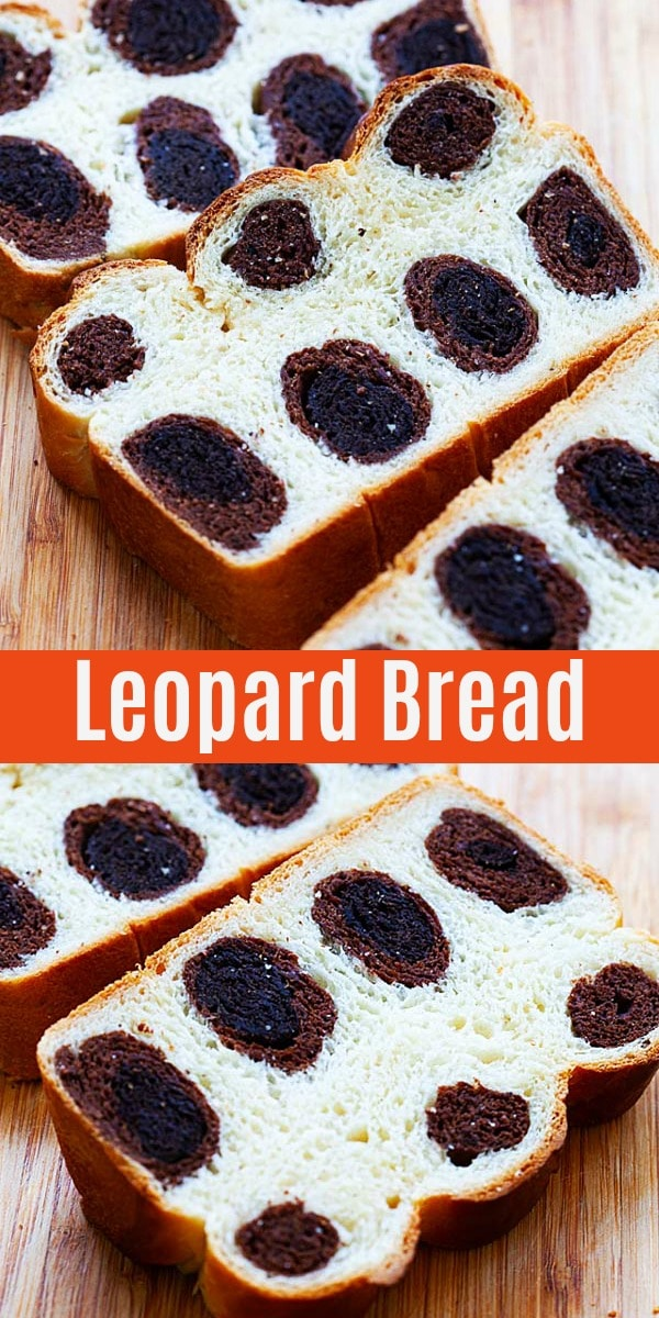 Leopard bread is one of the best bread recipes, with milk bread and chocolate loaded leopard prints inside the bread. Learn how to make it from scratch!