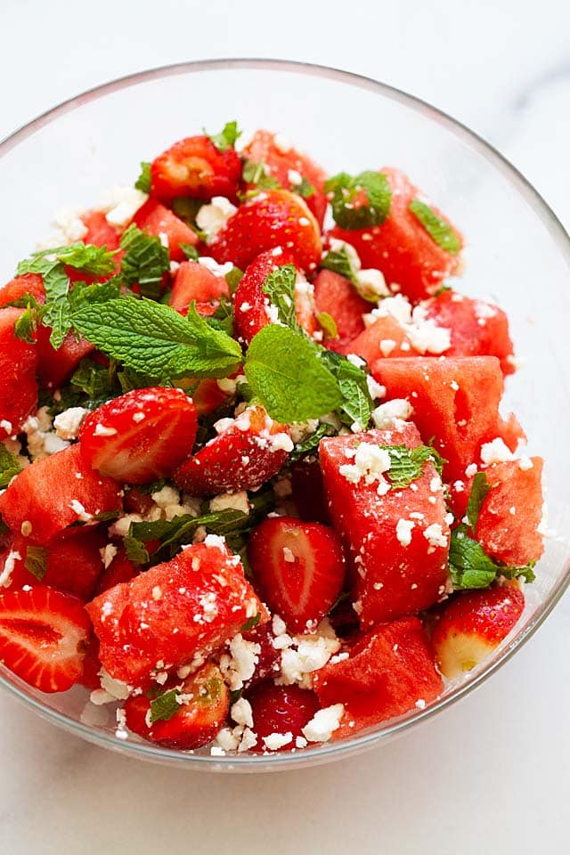 Watermelon salad in a salad bowl, ready to serve.