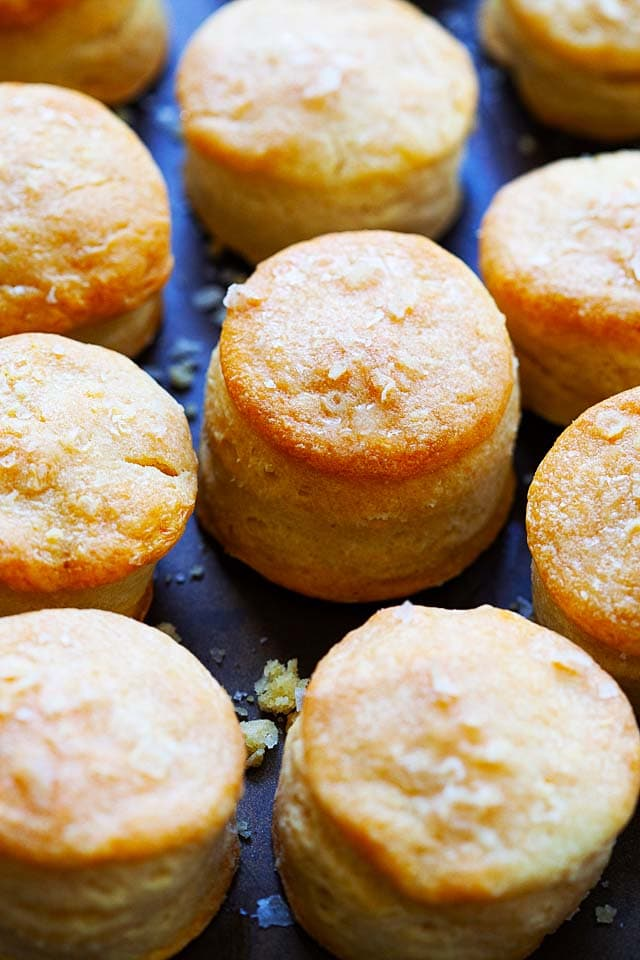 Buttermilk biscuits without baking powder and milk.