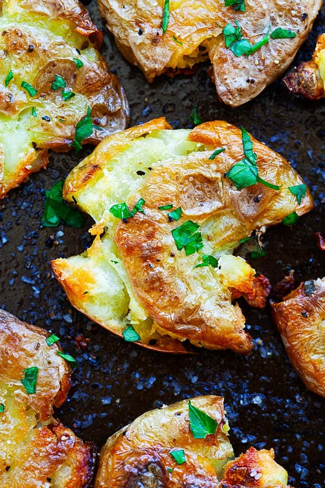 Roasted smashed potatoes that are crispy.