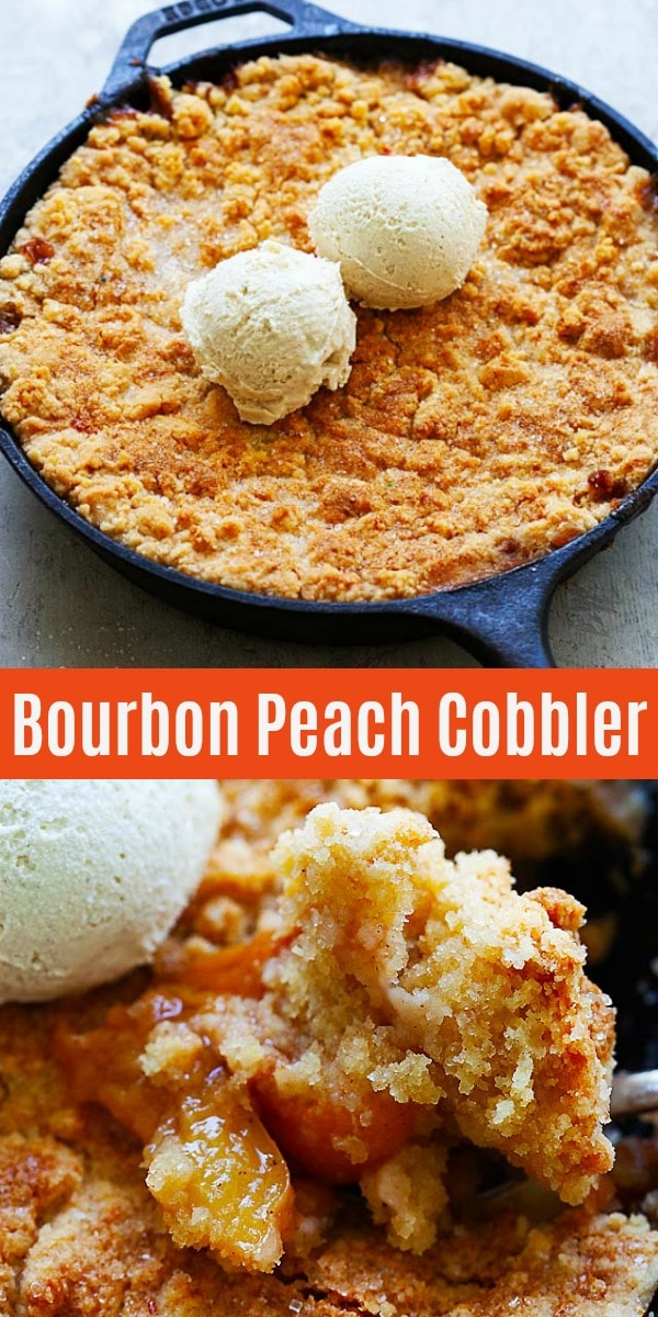 Peach Cobbler - filled with bourbon peach and topped with buttery and crumbly pie crust dough. This peach cobbler recipe is so easy and a summertime staple!