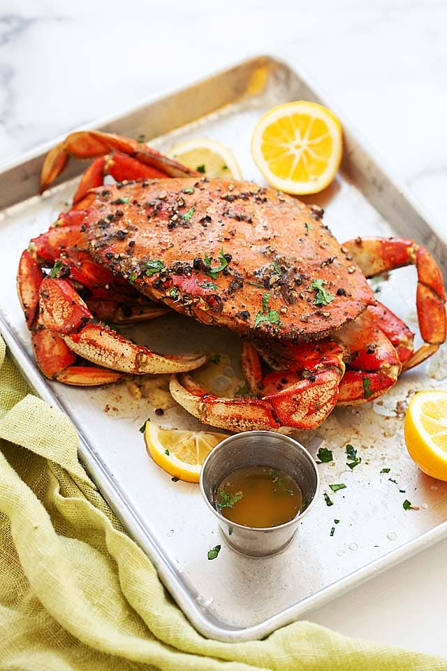Whole Dungeness crab, roasted with butter and black pepper.