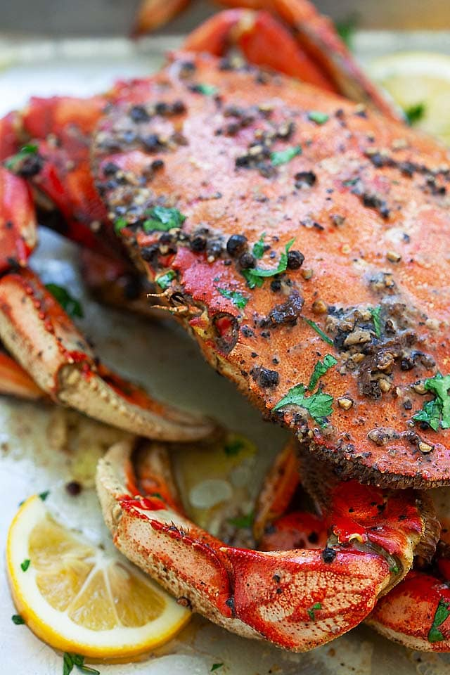 Black pepper roasted Dungeness crab is one of the best Dungeness crab recipes.