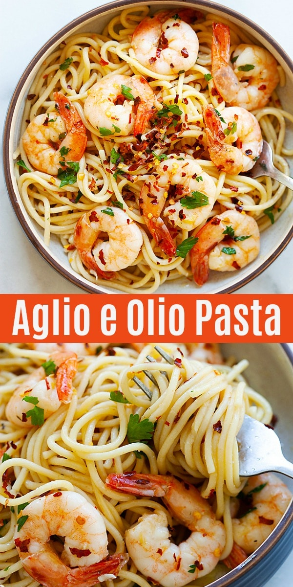 Spaghetti Aglio e Olio with Shrimp - super easy and delicious spaghetti with garlic, olive oil, shrimp and red pepper flakes. Amazing dinner for the family.