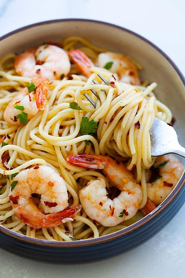 Pasta aglio e olio with shrimp, olive oil and garlic.