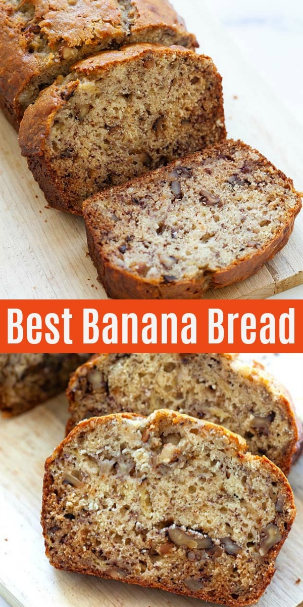 Best banana bread recipe with overripe bananas, walnuts and brown sugar. This recipe is so easy and can be made by hands, without a mixer. The banana bread is crazy moist, sweet, loaded with bananas and walnut!