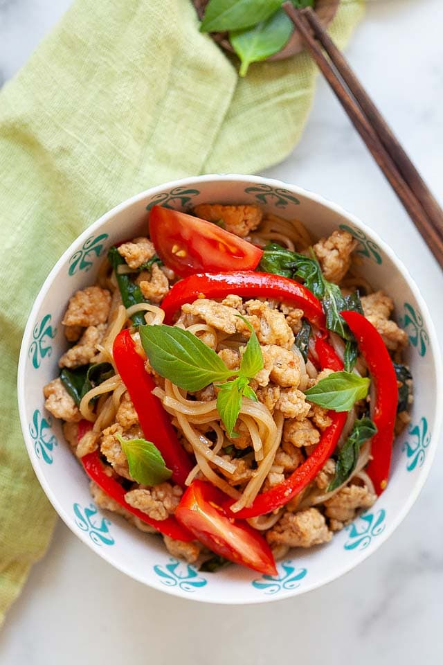 Pad Kee Mao or Thai drunken noodles.