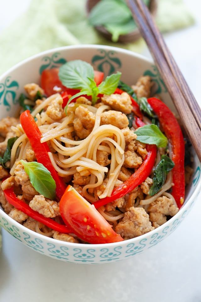 Chicken drunken noodles.