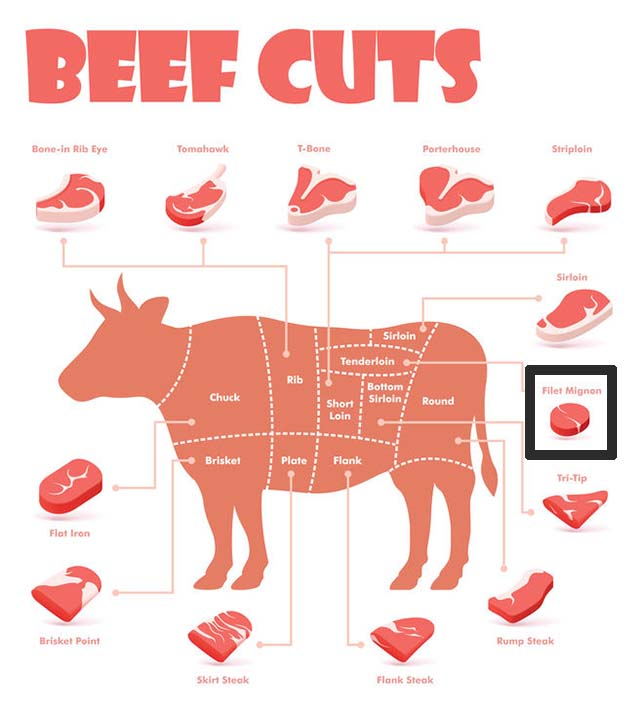 Beef cuts chart showing where is filet mignon on a cow.