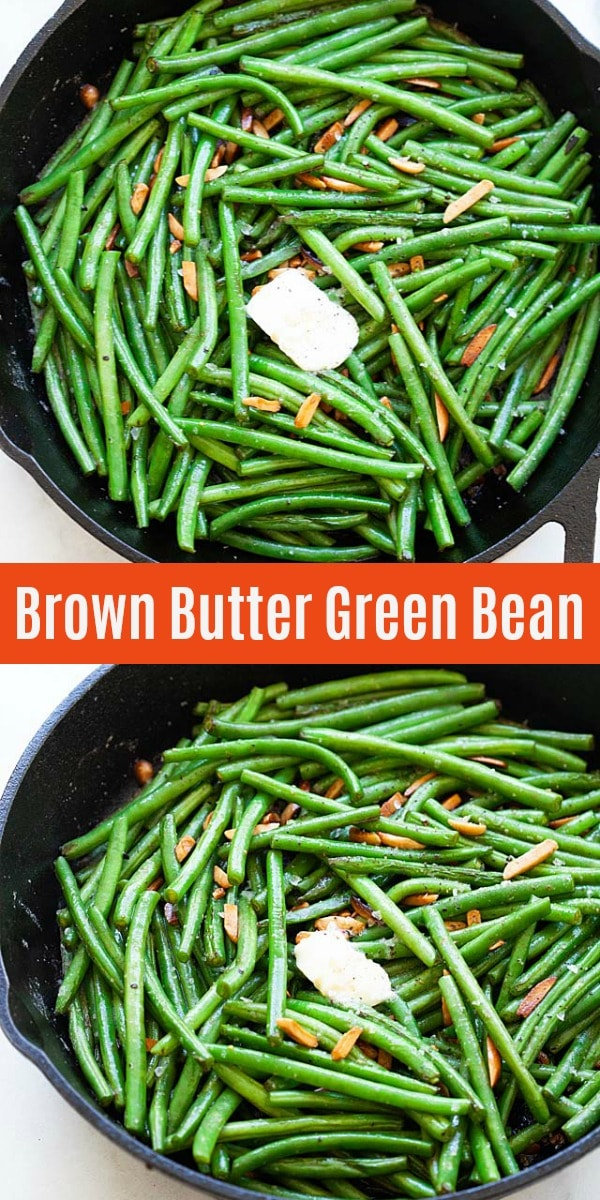 Green beans are sweet and tender. This green bean recipe is sauteed with brown butter with almond in the skillet, so easy and takes less than 10 minutes for this perfect side dish.