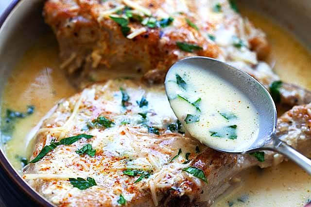 Creamy Garlic Parmesan is one of the best Instant Pot recipes with bone-in pork chops and gravy.