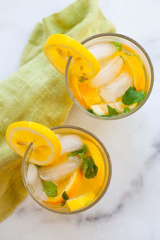 Lemonade in two glasses.